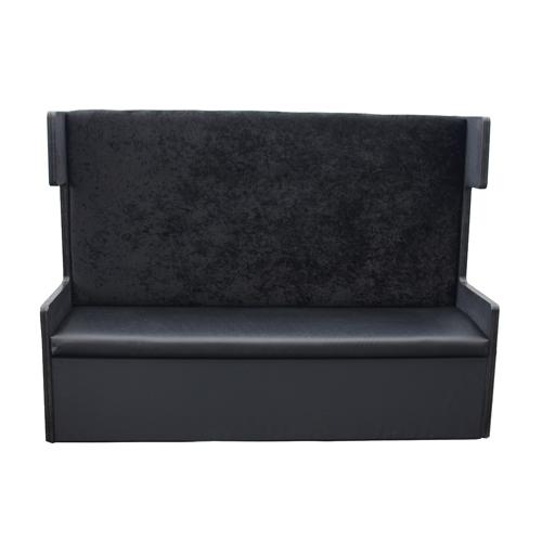Hoge zwarte leren bank met zijkanten - Zwarte bank lounge ...