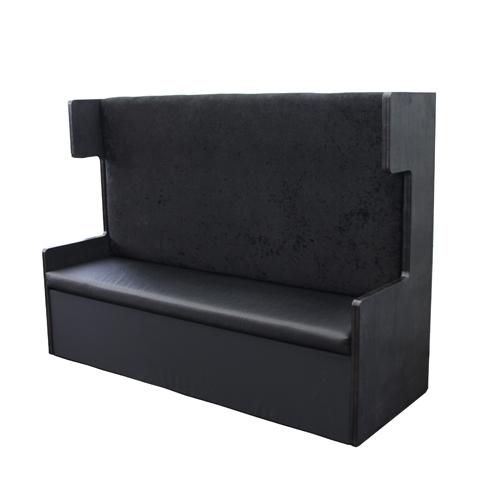 Pearl grey bank met hoge rugleuning - Zwarte bank lounge ...