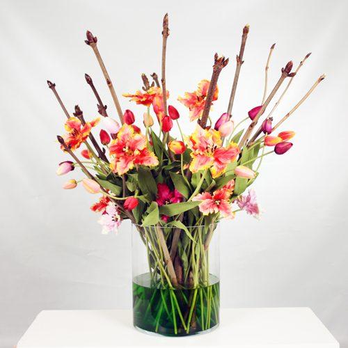 Silk ka flowers plants archieven beursdecoratie glasvaas met zijden bloemen en takken mightylinksfo