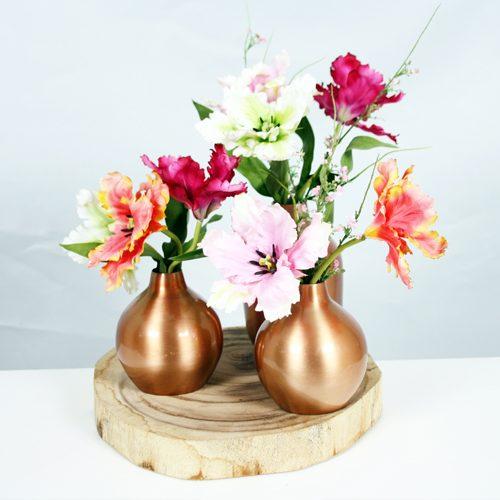 Silk ka flowers plants archieven beursdecoratie houten schijf met vaasjes en zijden bloemen mightylinksfo